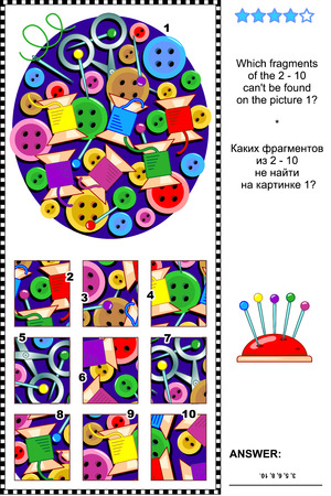 Needlecraft items visual logic puzzle Stock Illustratie