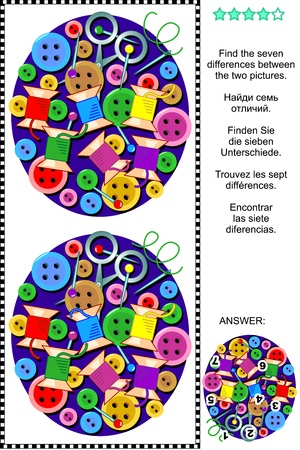 adult education: Sewing themed picture puzzle: Find the seven differences between the two pictures of colorful sewing items - buttons, spools, pins, needles, scissors. Answer included. Illustration