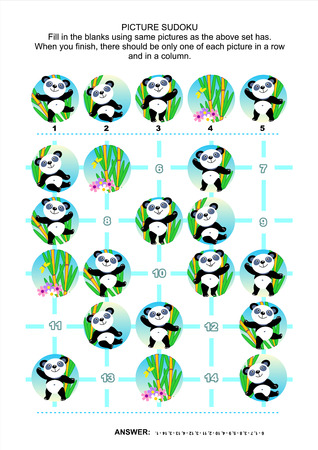 one panda: Picture sudoku puzzle 5x5 (one block) with little panda bears. Answer included. Illustration