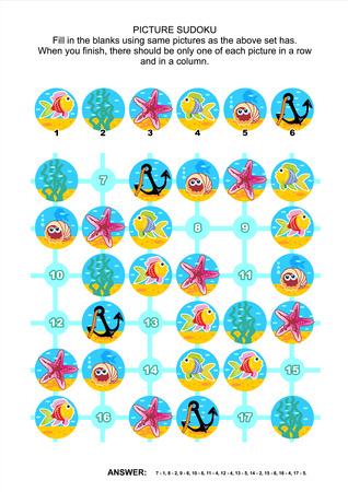 Onderwater themed foto sudoku puzzel 6x6 (een blok) met zeeleven iconen. Antwoord inbegrepen. Stock Illustratie