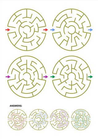 easy way: Collection of four different round maze templates for your designs and projects. Answers included. Illustration