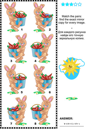 exact: Visual logic puzzle: Match the pairs - find the exact mirror copy for every image of  bunnies carrying buckets full of carrots. Answer included. Illustration