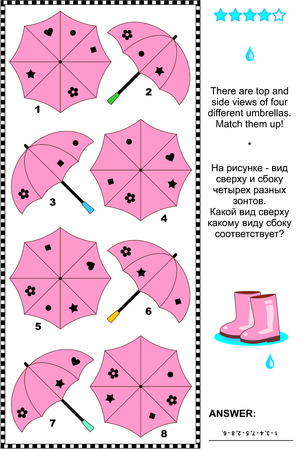 Pink umbrellas visual puzzle: There are top and side views of four different umbrellas. Match them up! Answer included. 일러스트