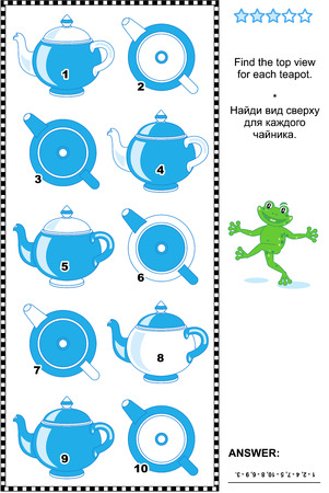 Educational visual math puzzle or picture riddle: Find the top view for each teapot. Answer included.