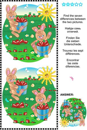 harvesting: Picture puzzle: Find the seven differences between the two pictures of bunnies harvesting carrots. Answer included.