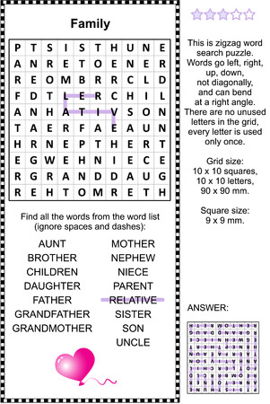 adults learning: Family and relatives themed zigzag word search puzzle (suitable both for kids and adults). Answer included.