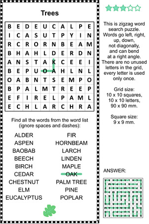 Trees themed zigzag word search puzzle (suitable both for kids and adults). Answer included. Illustration