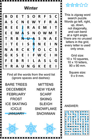 Winter themed zigzag word search puzzle (suitable both for kids and adults). Answer included. Illustration
