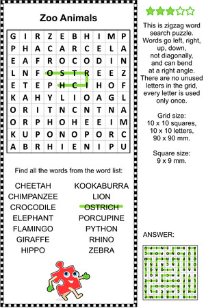 esl: Zoo animals - ostrich,cheetah,lion,rhino,hippo,zebra, etc. - word search puzzle. Answer included.