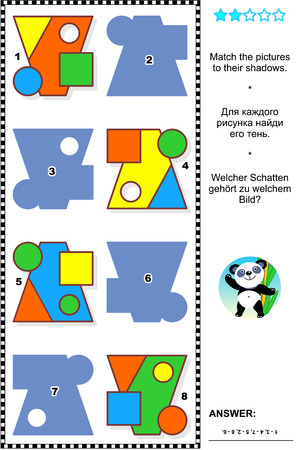 Educational math visual puzzle, basic shapes learning themed: Match the pictures to their shadows. Answer included.