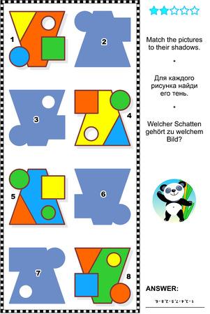 matematicas: Matem�ticas Educaci�n rompecabezas visual, las formas b�sicas de aprendizaje tem�tico: Que las im�genes a sus sombras. Respuesta contenida.