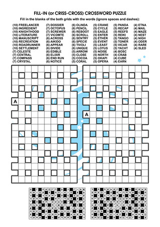 fill in: Criss-cross word puzzle - fill in the blanks of the crossword puzzle grids with the words provided. Answer included.