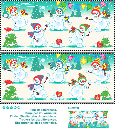 find: Christmas or New Year visual puzzle: Find the ten differences between the two pictures  - happy playful snowmen at a christmas party. Answer included. Illustration