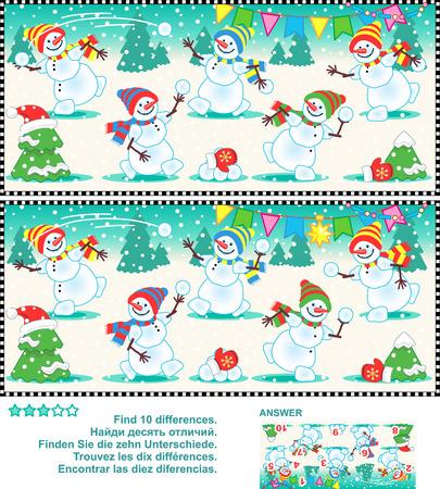 Navidad o Año Nuevo rompecabezas visual: Encuentre las diez diferencias entre las dos imágenes - muñecos de nieve felices juguetones en una fiesta de Navidad. Respuesta incluido.