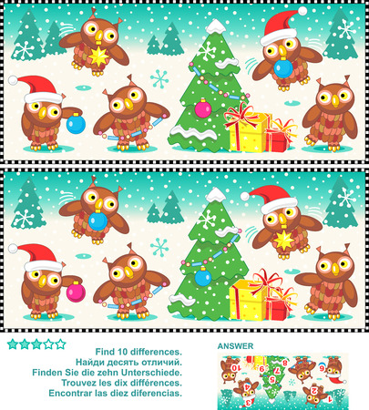 Christmas or New Year visual puzzle: Find the ten differences between the two pictures  - owls trimming the christmas tree. Answer included. Stock Illustratie