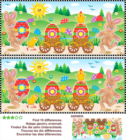 Easter egg hunt themed visual puzzle: Find the ten differences between the two pictures with bunnies, chicks, painted eggs. Answer included. Illustration
