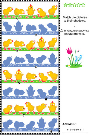 shadow match: Visual puzzle or picture riddle: Match the pictures of chicks rows to their shadows. Answer included. Illustration