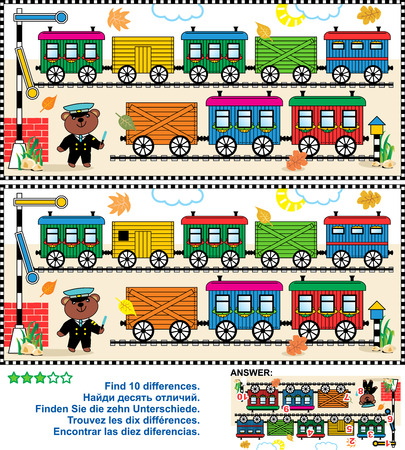 Toy train visual puzzle: Find the ten differences between the two pictures  - train cars, railway, railroad roadsigns, teddy bear the railman Vettoriali
