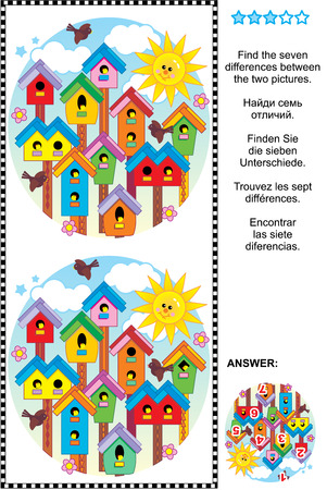 Picture puzzle: Find the seven differences between the two pictures of colorful spring birdhouses. Answer included.