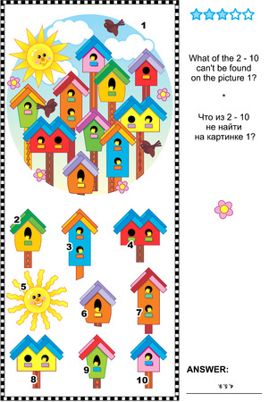 Spring birdhouses visual logic puzzle: What of the 2 - 10 can\\\\ Illustration