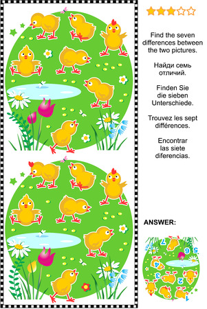 chicks: Picture puzzle: Find the seven differences between the two pictures of cute little chicks. Answer included.