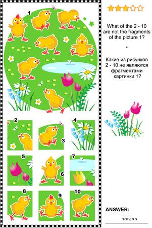 chicks: Visual logic puzzle with cute little chicks: What of the 2 - 10 are not the fragments of the picture 1? Answer included. Illustration