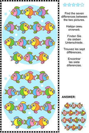 Foto puzzel: Zoek de zeven verschillen tussen de twee foto's van schattige kleurrijke visjes. Inbegrepen antwoord. Stockfoto - 38686416