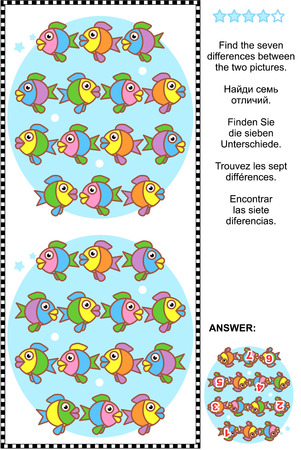 Picture puzzle: Find the seven differences between the two pictures of cute colorful little fish. Answer included. Illustration