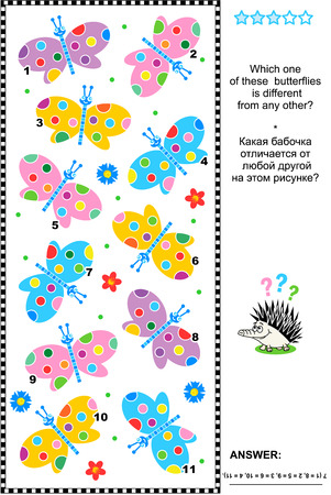 Spring or summer visual puzzle: Which one of these colorful butterflies is different from any other? Answer included. Stock Illustratie