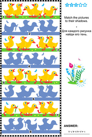 shadow match: Visual puzzle or picture riddle: Match the pictures of little ducklings to their shadows. Answer included. Illustration