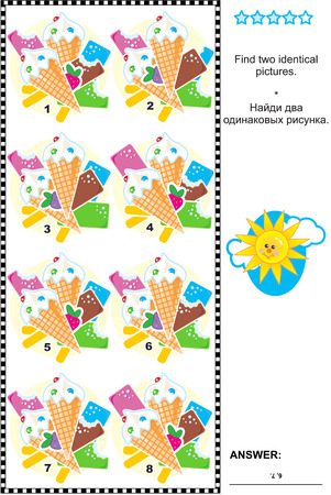 Visual puzzle: Find two identical pictures of ice cream bars and cones. Answer included.