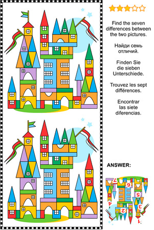 Picture puzzle: Find the seven differences between the two pictures of toy town made of colorful building blocks. Answer included. Stock Illustratie