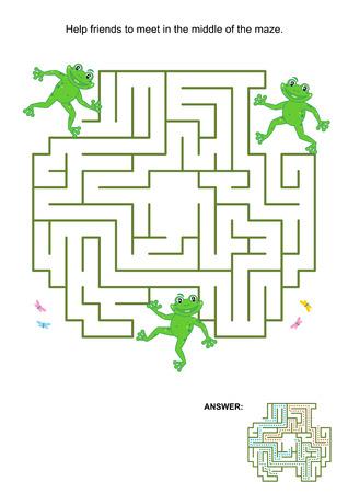 laberinto: Laberinto juego para ni�os: Ayuda a los amigos de la rana a reunirse en el centro del laberinto. Respuesta incluido.
