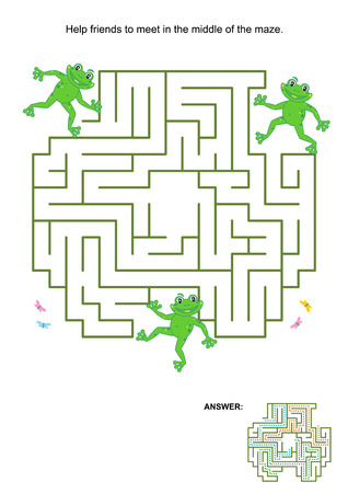 maze: Maze game for kids: Help the frog friends to meet in the middle of the maze. Answer included.