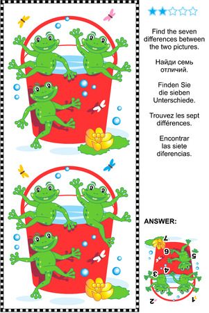 Picture puzzle: Find the seven differences between the two pictures of happy playful frogs and red bucket full of water. Answer included. Illustration