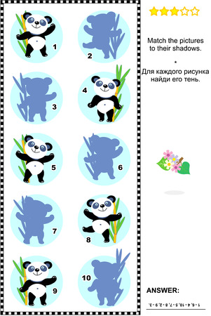 shadow match: Visual puzzle or picture riddle: Match the pictures of panda bears in a bamboo forest to their shadows. Answer included. Illustration