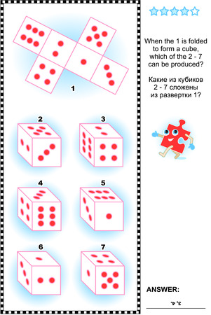Visual math puzzle (suitable both for kids and adults): When the 1 is folded to form a cube, which of the 2 - 7 can be produced? Answer included.