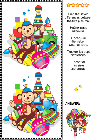 Picture riddle or visual puzzle: Find the seven differences between the two pictures with classic toys set - circus monkey, car, balls, bowling pins, spinning top, stacked rings, building blocks. Answer included.