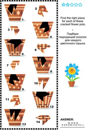 Visual puzzle or picture riddle: Find the right piece for each of the cracked flower pots. Answer included.