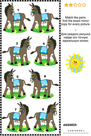 exact: Visual puzzle: Match the pairs - find the exact mirror copy for every donkey picture. Answer included.