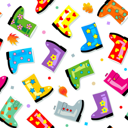 gumboots: Seamless (repeatable) gumboots background (pattern, print, wallpaper, swatch) Illustration