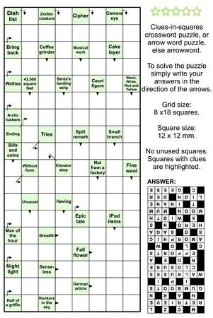 Clues-in-Quadrate Kreuzworträtsel oder Pfeil Wort-Puzzle, sonst arrowword. Wirkliche Größe, enthalten Antwort.