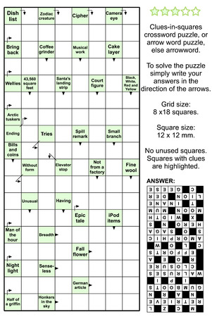 brainteaser: Clues-in-squares crossword puzzle, or arrow word puzzle, else arrowword. Real size, answer included.