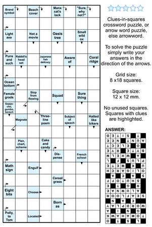 brain puzzle: Clues-in-squares crossword puzzle, or arrow word puzzle, else arrowword. Real size, answer included.