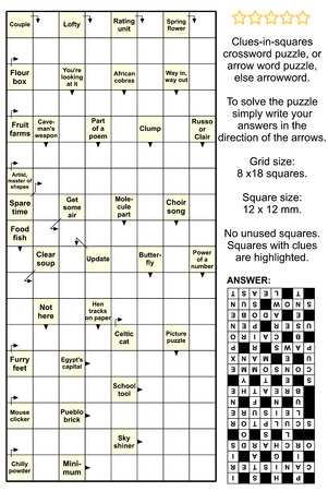 included: Clues-in-squares crossword puzzle, or arrow word puzzle, else arrowword. Real size, answer included.