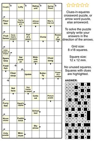 Clues-in-vierkanten kruiswoordraadsel, of pijl woord puzzel, anders arrowword. Werkelijke grootte, inclusief antwoord.