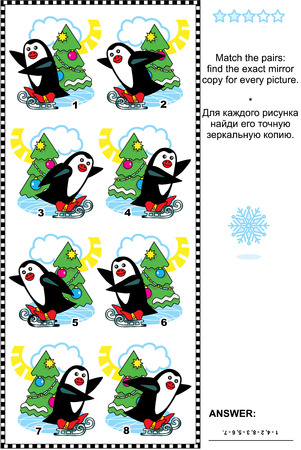 Christmas or New Year visual puzzle: Match the pairs - find the exact mirror copy for every picture of skating penguin and christmas tree. Answer included. Vector