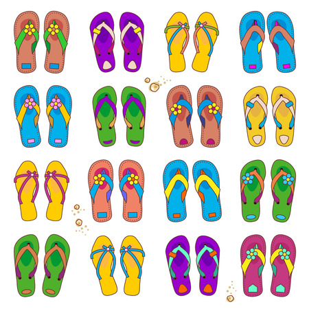 flipflops: Summer or vacation design elements - set of 16 colorful pairs of beach flip-flops isolated on white background