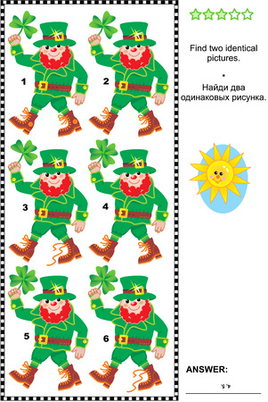 leprechaun: St Patricks Day themed visual puzzle: Find two identical pictures of leprechauns. Answer included.