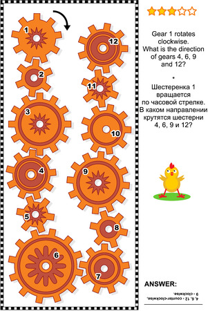 clockwise: Visual mechanics or math puzzle with rotating clockwise and counterclockwise gears. Answer included.